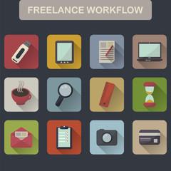 Set of flat freelance workflow icons
