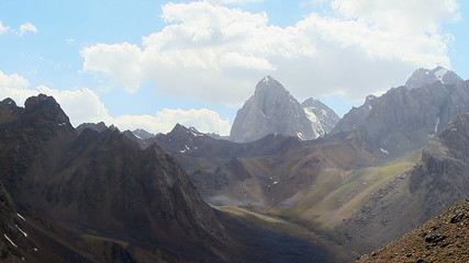 Mountains under the clouds. TimeLapse, Pamir