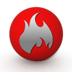 Fire circular icon on white background