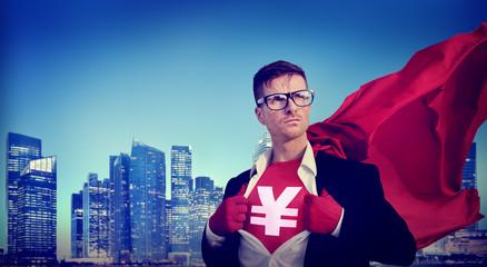 Yen Sign Strong Superhero Success Professional Empowerment Stock