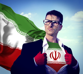 Businessman Superhero Country Iran Flag Culture Power Concept