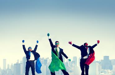 Superhero Businessmen Jumping Celebration Concept