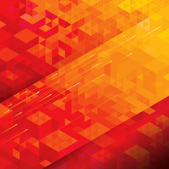 Geometric structure technical abstract red background.