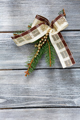 Christmas bow and fir branch