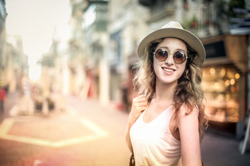 Happy fashionable girl