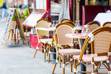 Empty outdoor restaurant table in Paris, France
