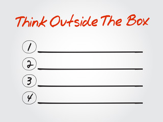 Blank Think Outside The Box list, vector concept background