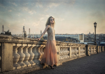 Fashionable girl in a beautiful city