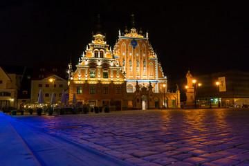 House of the Blackheads at night in Riga, Latvia