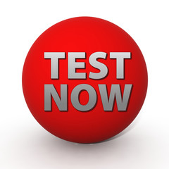 Test now circular icon on white background