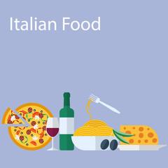 Italian food flat background