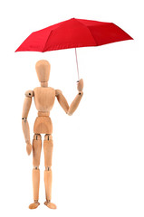 L'homme en bois sous le parapluie rouge
