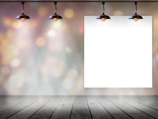Blank frame on bokeh background with Ceiling lamp