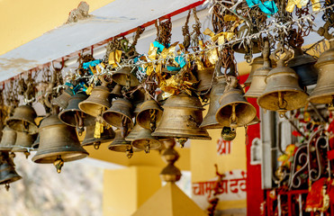 Brass bells in ancient hindu temple