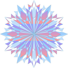 Multicolored crystal snowflake with sharp edges