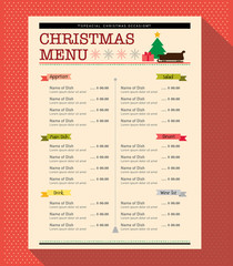 Christmas menu food and drink design template layout