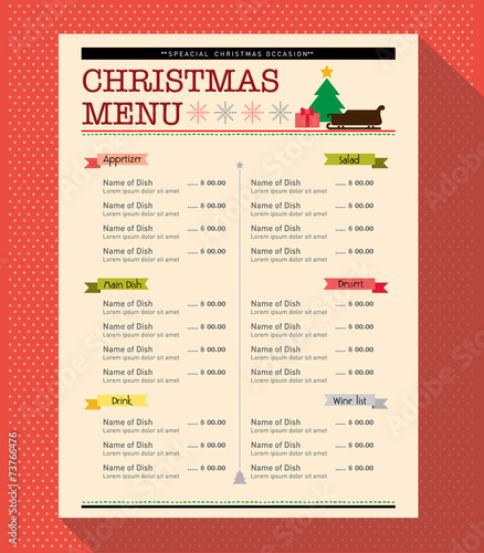 Quot Christmas Menu Food And Drink Design Template Layout