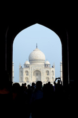 Taj mahal, India. View through arch