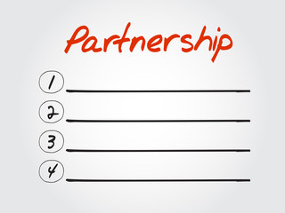 Blank Partnership list, vector concept background
