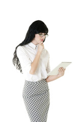 Young business woman working with electronic tablet