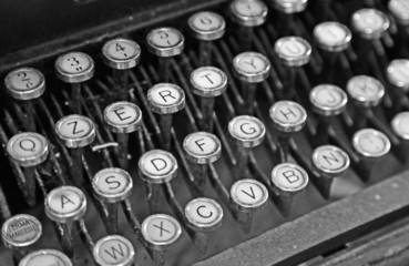 old keyboard of an old typewriter used in the 40s