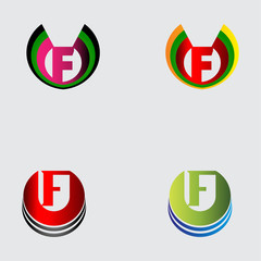 Set of alphabet symbols and elements of letter F, such a logo
