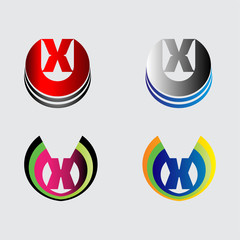 Set of alphabet symbols and elements of letter X, such a logo