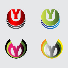 Set of alphabet symbols and elements of letter Y, such a logo