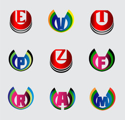 Set of full alphabet symbols and letters, such logo E,