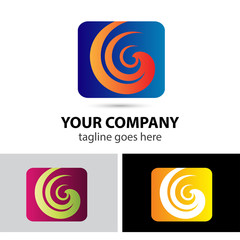 Spiral in square abstract vector logo design template