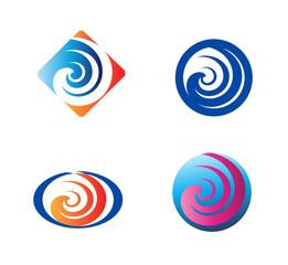 Spiral symbol Twirl logo elements