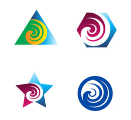 Swirl abstract logo element set