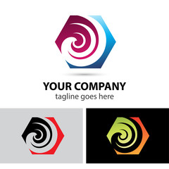 Swirl icon hexagon logo