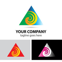 Swirl logo with triangle logo