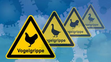 ib2 InfoBanner - Vogelgrippe Warnsymbol mit Viren 16zu9 g2635