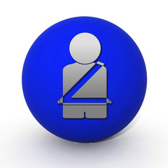 Seat belt circular icon on white background