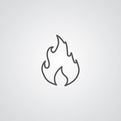 fire outline symbol, dark on white background, logo template.