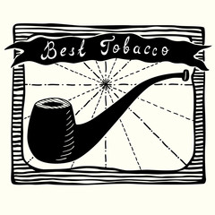 Vector illustration of tobacco pipe label.