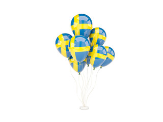 Flying balloons with flag of sweden