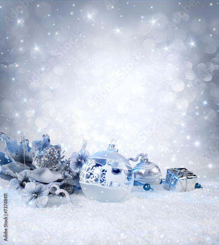 canvas print picture silver balls and decoration on snow - sparkling background