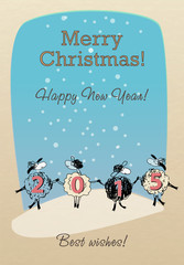 Merry Christmas card with funny sheep 2015