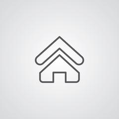 Home outline symbol, dark on white background, logo template.