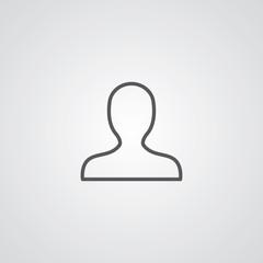 profile outline symbol, dark on white background, logo template.