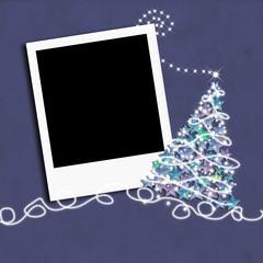 Christmas photo frame with Christmas tree