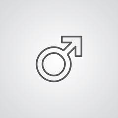male symbol outline symbol, dark on white background, logo templ