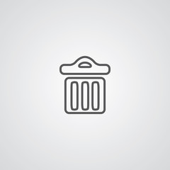 trash bin outline symbol, dark on white background, logo templat