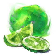 drawing lime with a slice