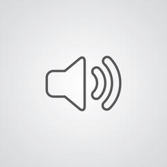 sound outline symbol, dark on white background, logo template.