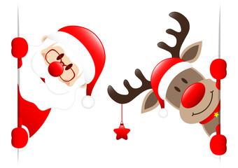 Santa & Rudolph Star Banner