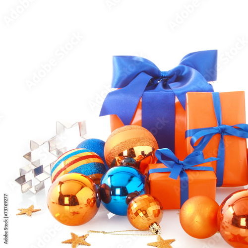 Attractive Blue and Orange Christmas Ornaments